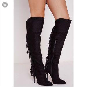 Missguided OTK Black Fringe Boots